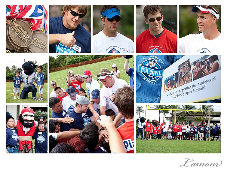 Special Olympics punt pass and kick event with NFL Pro Bowl 2009 Athletes Peyton Eli Stephen Gostkowski and Jordan Gross