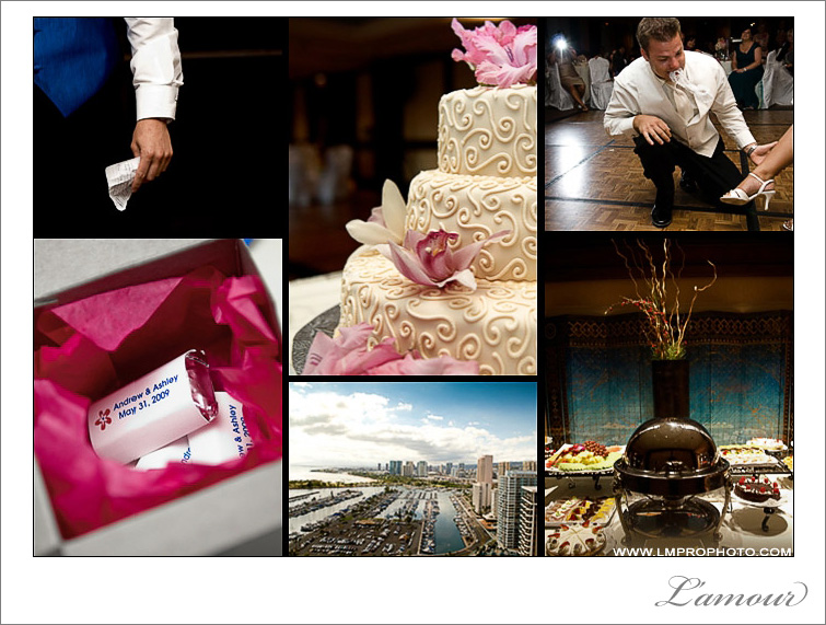 Pink and Blue wedding reception photos from Hilton Hawaiian Village on Oahu