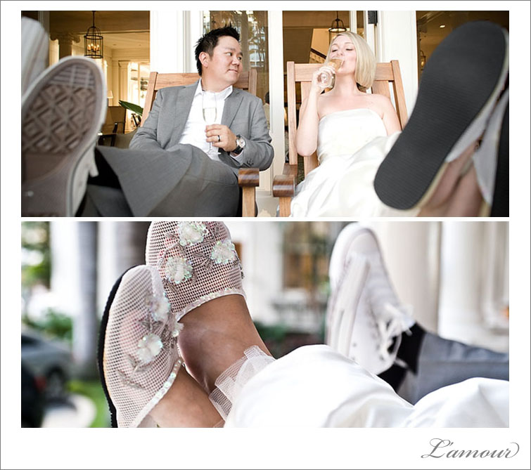 Wedding shoes at the Oahu Moana Surfrider