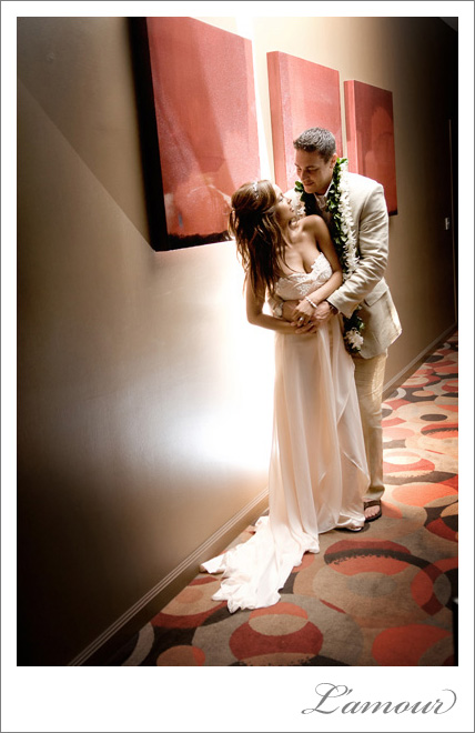 Dramatic Wedding Portrait of Bride and Groom at their Hawaii Destination Wedding Reception