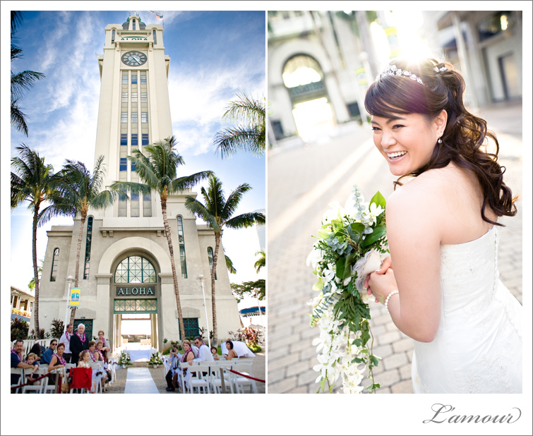 Hawaii Wedding Photographers L'Amour photographed this Aloha Tower wedding Ceremony in Honolulu, Oahu