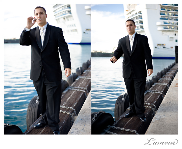Groom at Aloha Tower at Honolulu Hawaii Wedding by L'amour  Photography