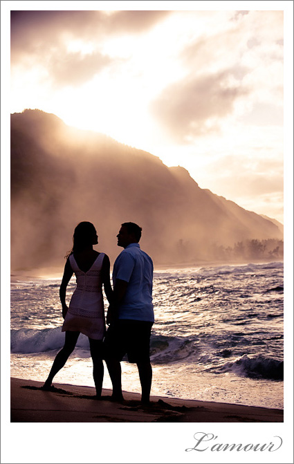 Sunset Photos during an Engagament Portrait Session on North Shore Oahu by Lamour Photographers