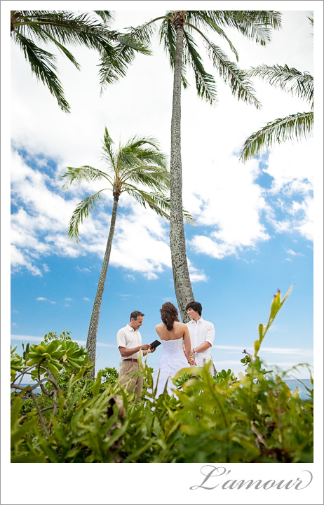 Bride and Groom have a Hawaii Wedding Ceremony on the Beach