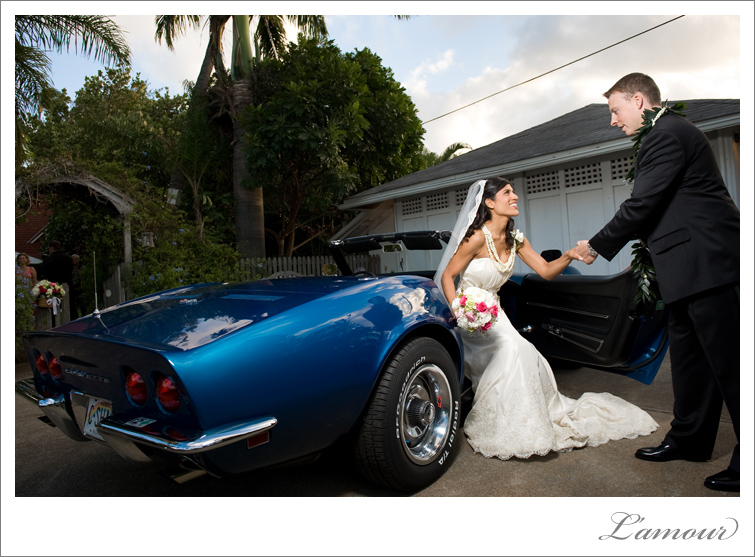 Hawaii Destination Wedding Bride and Groom get out of vintage car
