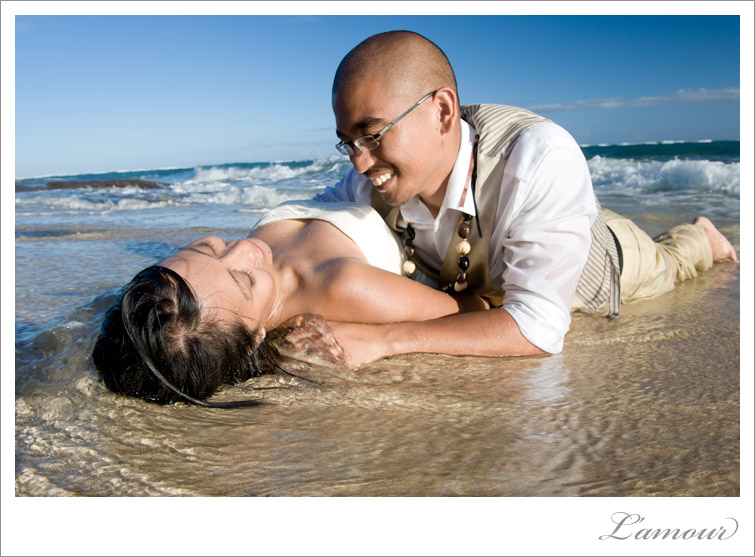 Bride and Groom Trash the Dress in Oahu Hawaii