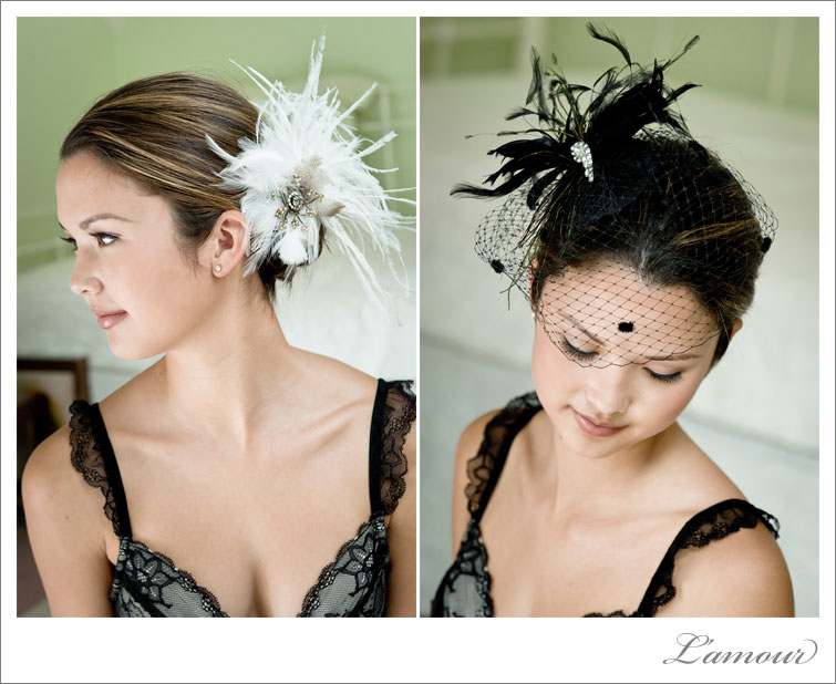 Feather wedding details and hair pieces