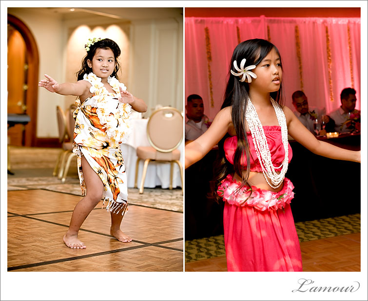 Kids perform hula dance at a hawaii wedding reception