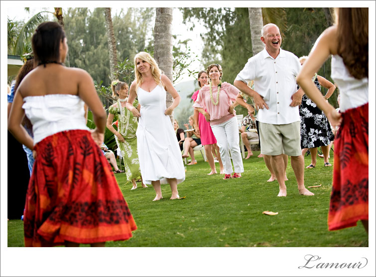 Hula Wedding Dancers teach guests to dance