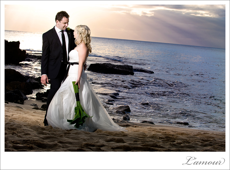 Sunset photos at a Hawaii Wedding at Ihilani resort on Oahu