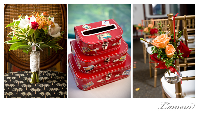 Red and Orange Hawaii Wedding Detail Photos at Haiku Gardens on Oahu