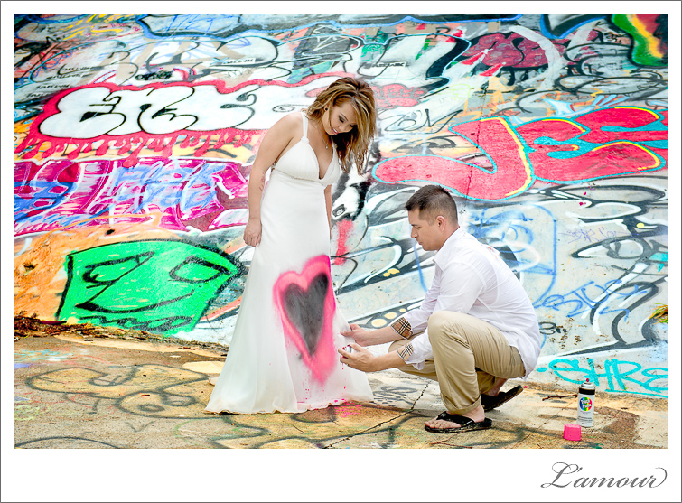Hawaii Trash the Dress Photographer spraypaint and surf