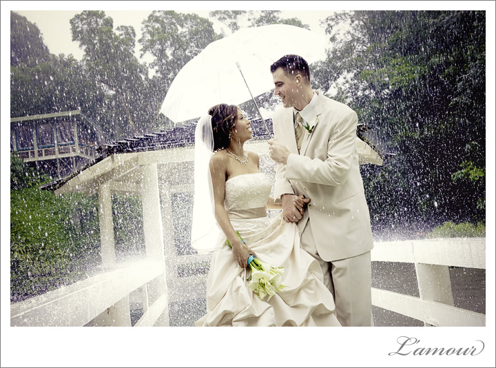 beautiful rainy wedding day portrait