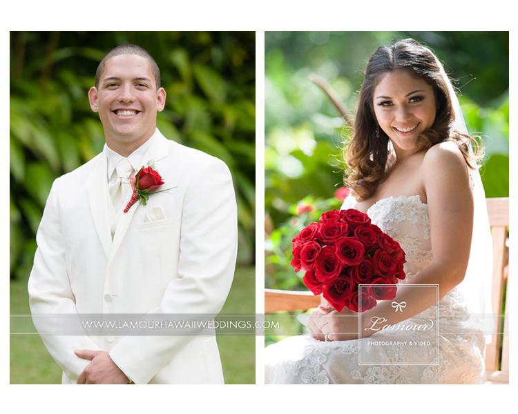 Bride and Groom at Haiku Gardens on Oahu