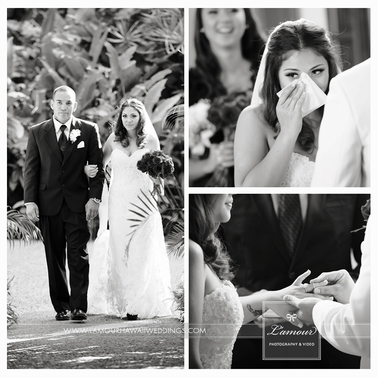 Black and White photo of bride walking down aisle and crying during Oahu Wedding ceremony