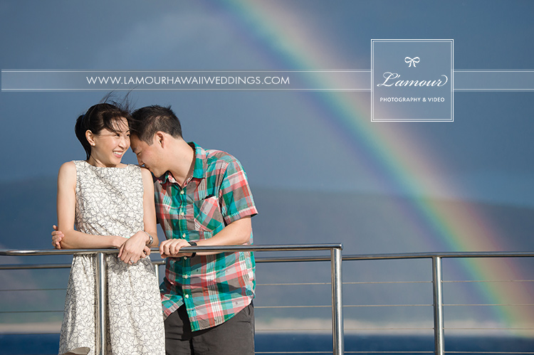 Hawaii Bride and groom under a rainbow in Kauai