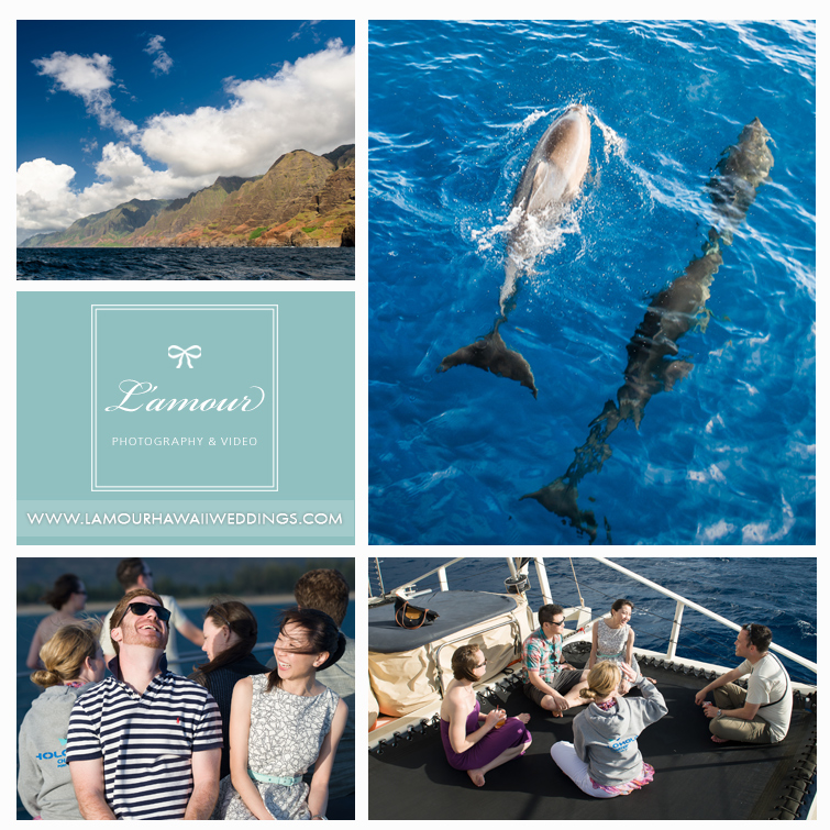 Dolphins and Napali coast sunset boat trip before wedding