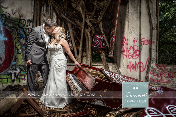 Hawaii Wedding photo of bride and groom with banyon tree and piano