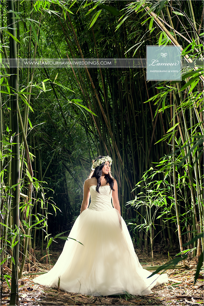 Hawaii Destination Wedding on Oahu with photo by L'Amour Photography and Video.