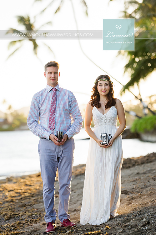 Lamour Hawaii wedding photography on Oahu of Eric and Wendy's beach portrait