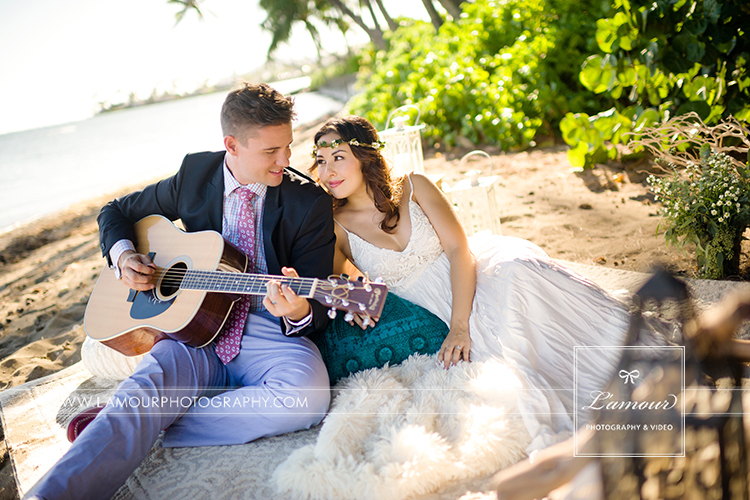 Hawaii Bride and Groom on beach on Oahu at Bayer Estate
