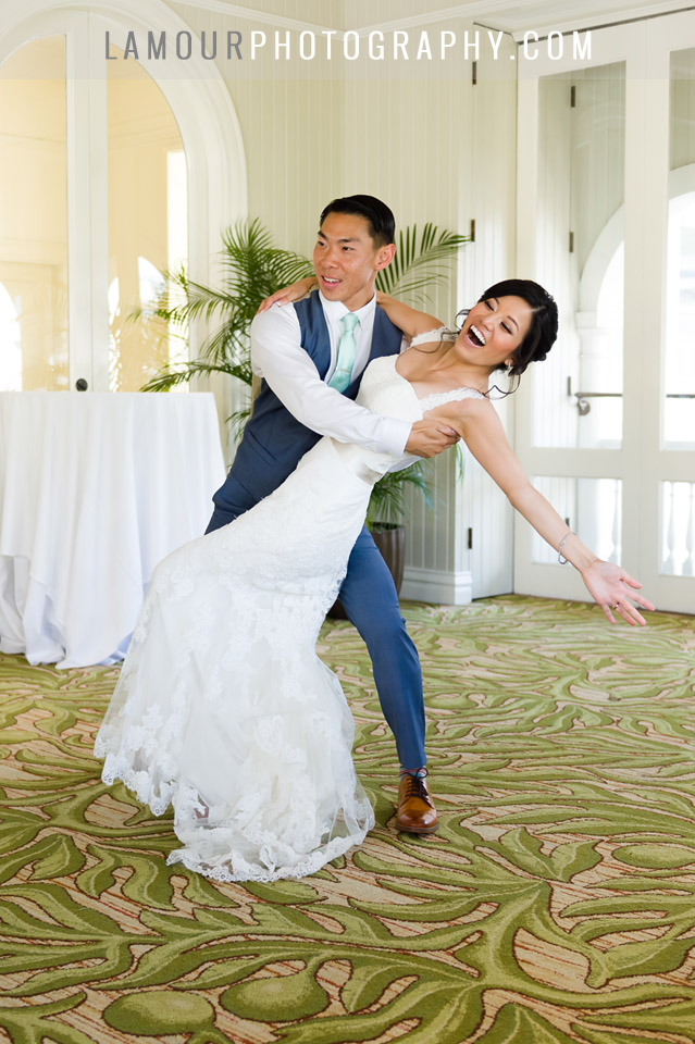 First dance at hawaii wedding in waikiki at the Moana Surfrider Hotel