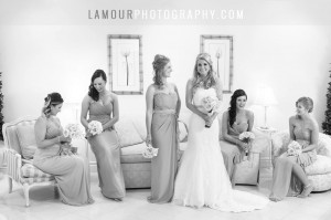 Hawaii wedding photography by L'Amour of Bride and bridesmaids waiting for Waikiki wedding on Oahu