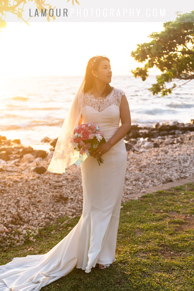 sunset wedding photography from Maui Hawaii of bride at Olowalu Plantation