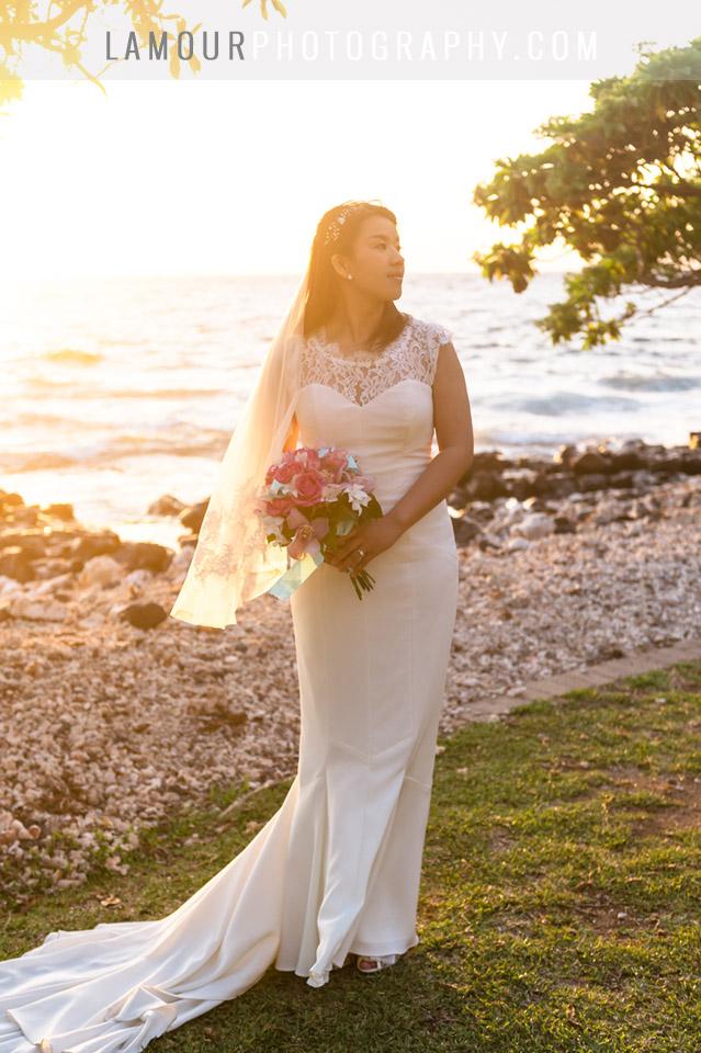 sunset wedding photography from Maui Hawaii of bride at Olowalu Plantation