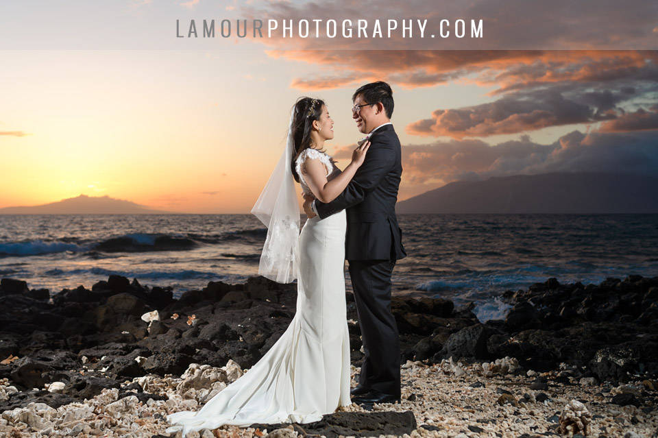 Hawaii wedding portrait at sunset on Maui for destination wedding in Hawaii