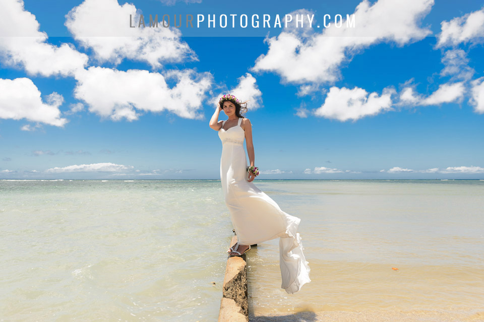 Bride at Hawaii destination wedding on Oahu