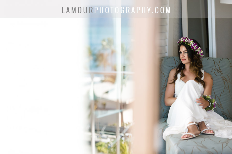 Bride getting ready for her Hawaii wedding photo and video by L'Amour