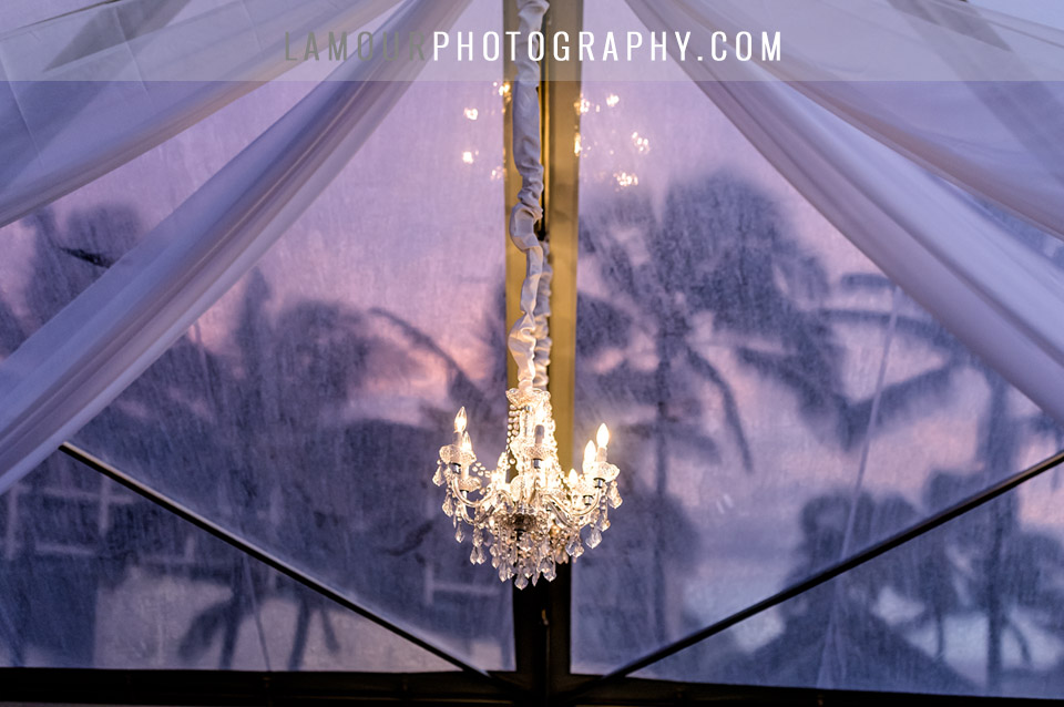 Clear wedding tent at turtle bay resort with chandelier and palm trees at sunset in hawaii wedding