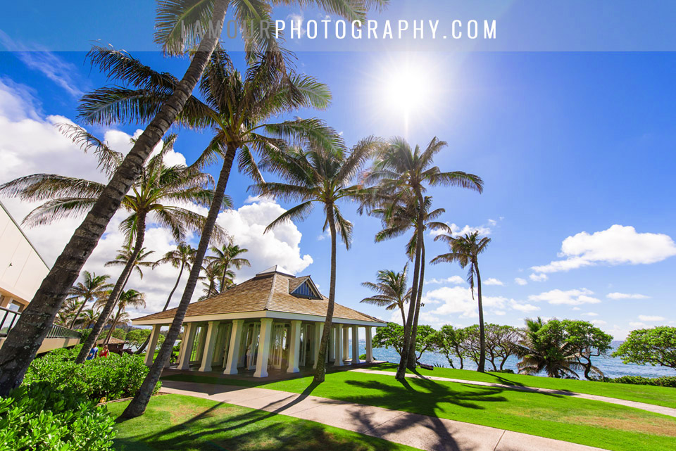 hawaii wedding at open air chapel at turtle bay resort on Oahu