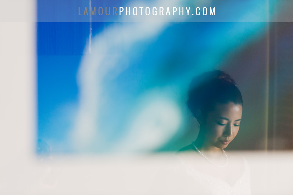 Bride gets ready for her destination wedding at Turtle Bay in Hawaii
