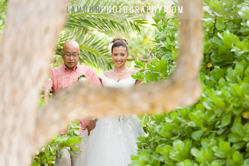 Oahu wedding photo of ceremony at venue Turtle Bay Resort