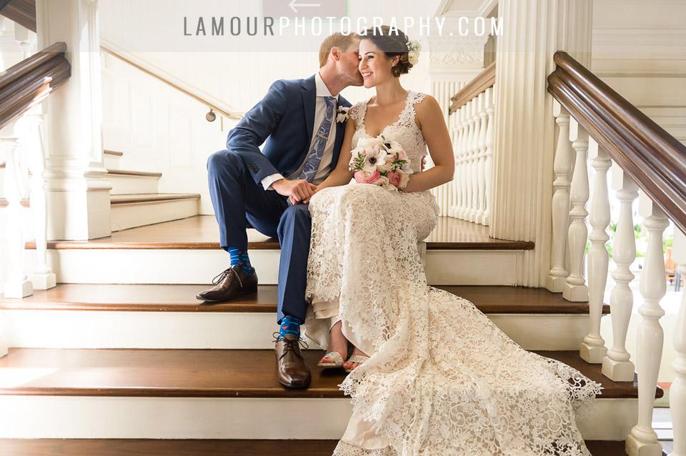 destination wedding bride in lace dress at hawaii wedding on oahu