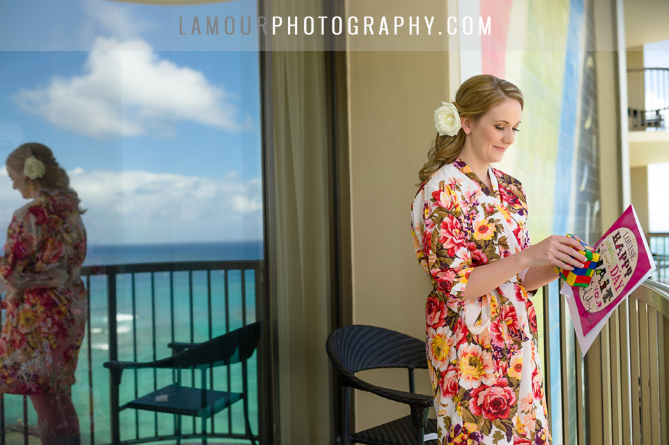 Bride in Waikiki gets makeup and hair done at Hilton Hawaiian Village hotel