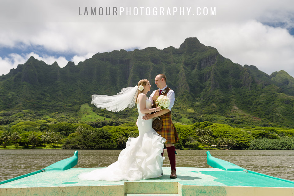 Bride and Groom get married in Hawaii where Jurassic Park was filmed