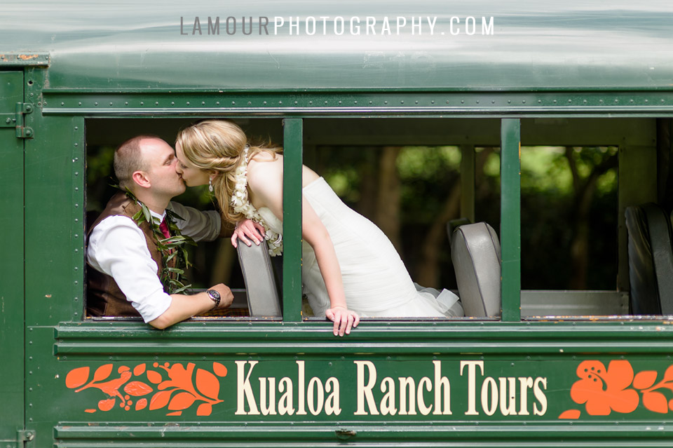 Destination wedding on Oahu at Venue Kualoa Ranch by L'Amour