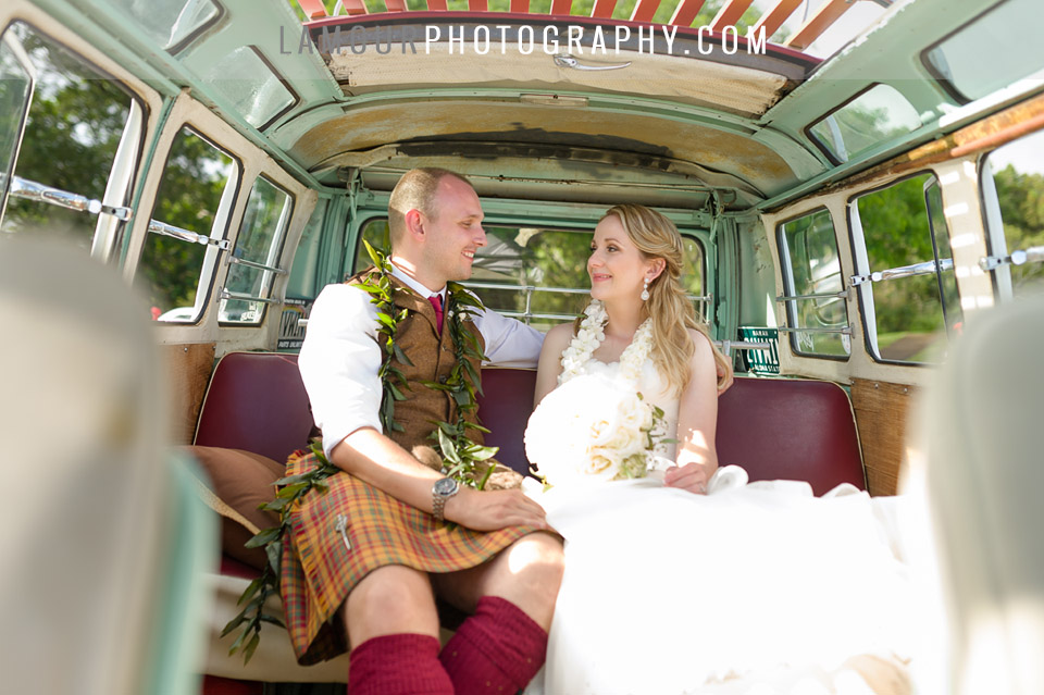 Groom in Kilt for Hawaii wedding on Oahu in VW bus