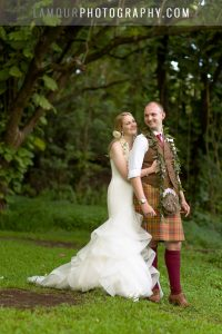 Scottish couple in kilt gets married at Kualoa Ranch on Oahu