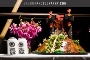 Lost and Jurassic Park themed wedding cake for Hawaii wedding on Oahu
