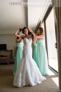 turtle bay resort wedding bride gets dressed