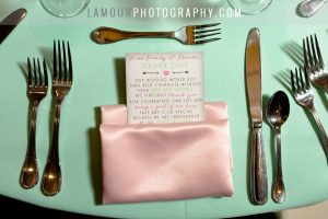 pastel green and pink wedding reception table