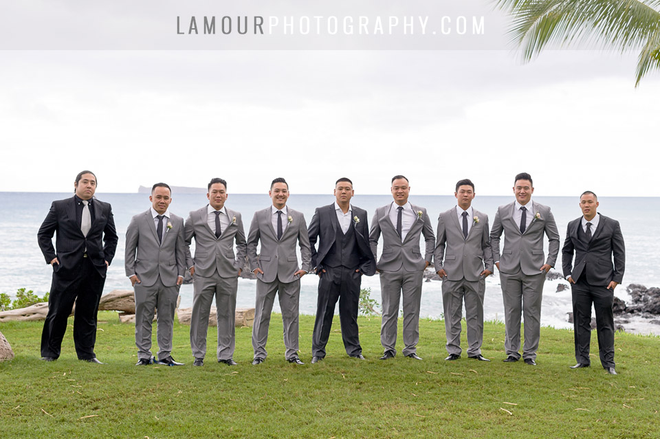 groom and groomsmen in grey suits at destination wedding in hawaii