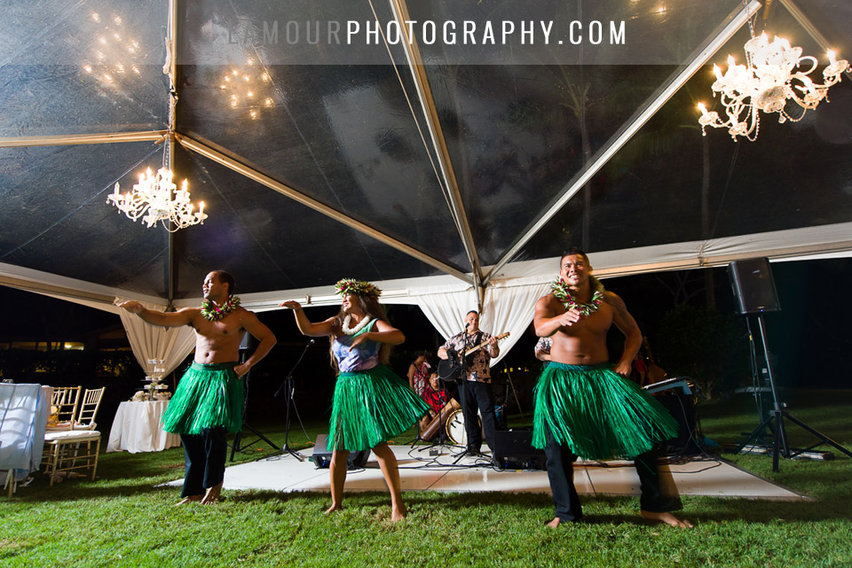 maui wedding reception photo of hula dancers