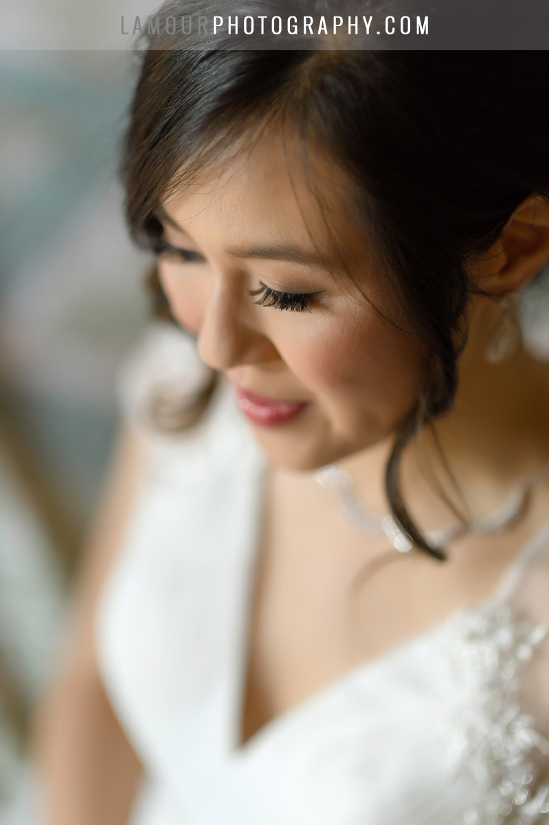 beautiful bride in hawaii with hair and makeup done