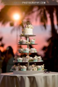 cupcake and wedding cake stand in hawaii wedding in maui