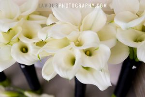 white lilies wedding bouquet in Hawaii black ribbon